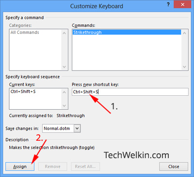 Customize Keyboard dialog box in MS Word for setting shortcut for strikethrough.
