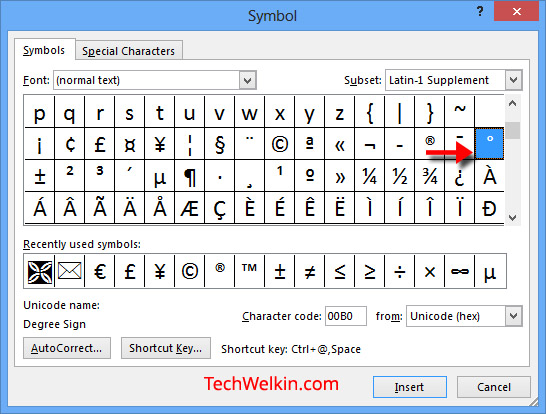 Inserting degree symbol in MS Word.