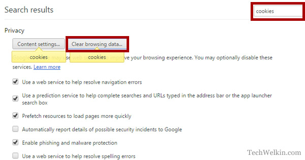 Search for cookies in Google Chrome.