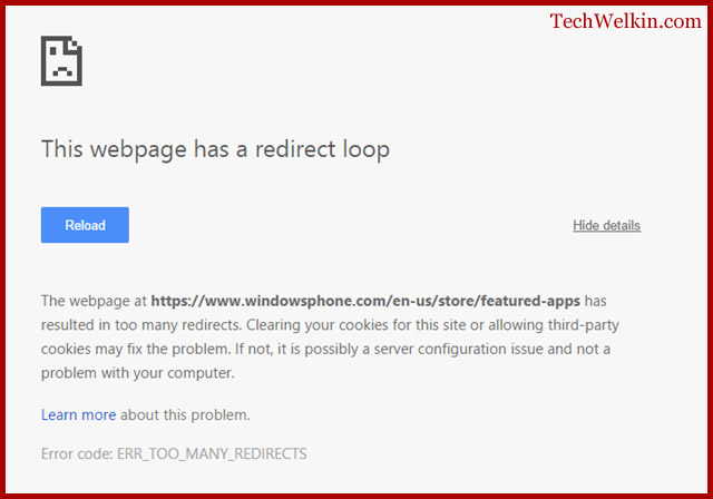 """This Webpage has a Redirect Loop"" error in Google Chrome."