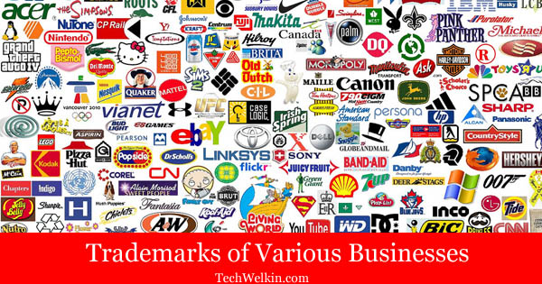 Trademark logos of various businesses.