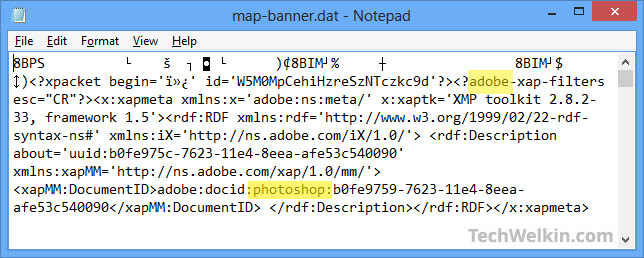A .dat file opened in Notepad. It shows the hint about the parent program.