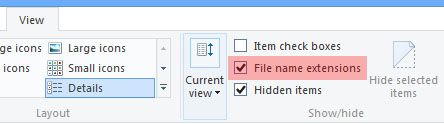 Show or hide file extensions in Windows 8.