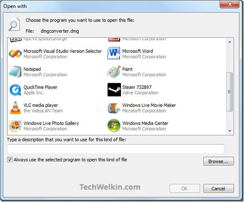 Open With dialog box in Windows. This dialog box asks you to select an appropriate program to open the file with.