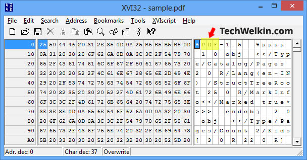 A PDF file opened in Hex Editor.
