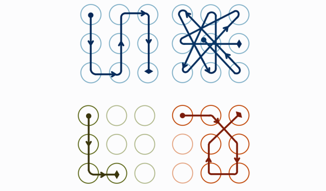 Pattern locks of varying complexity.
