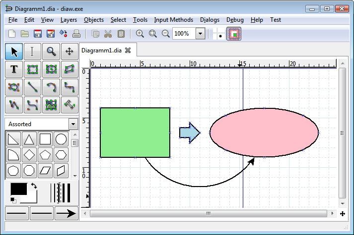 Screenshot of Dia software interface.