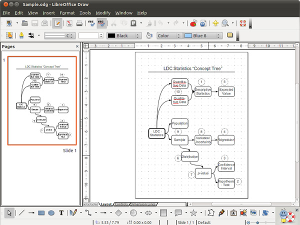 Graphic User Interface of LibreOffice Draw.