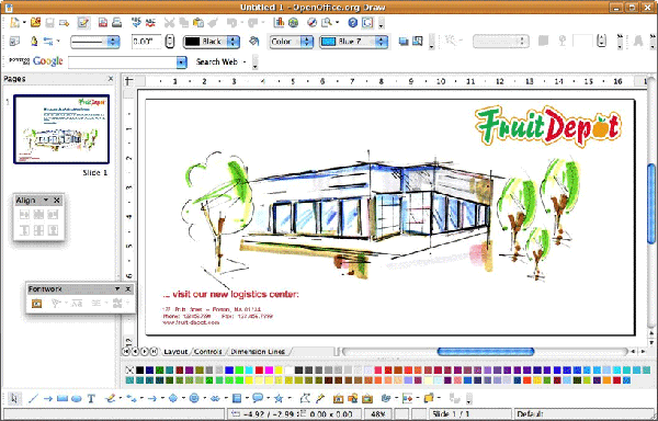 With OpenOffice Draw you can create sketches, layouts, diagrams and drawings.