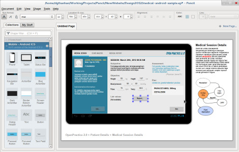 Screenshot of Pencil Project software.