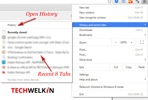 Image showing history and recent tabs option in Google Chrome.