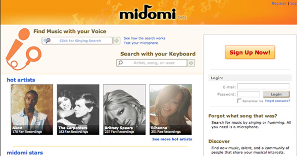Midomi website lets you search for songs hummed by you.