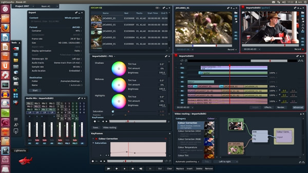 Lightworks video editor. Interface of Linux version.