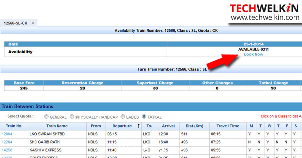 Tatkal Booking Status on IRCTC Website