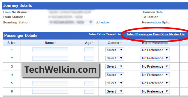 Quick Tatkal Booking. Use Master List to select the passengers who would be traveling.