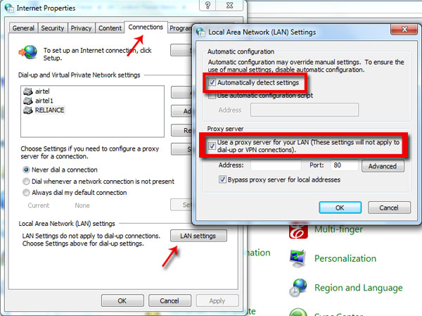 Change proxy settings in Windows.