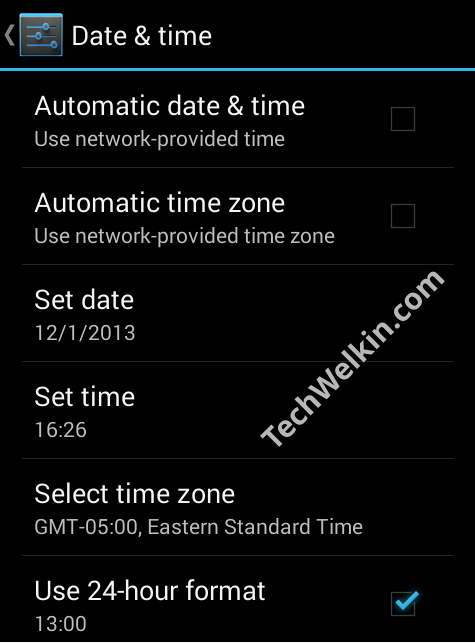 Date Time Settings Screen of Android Mobile Phone.