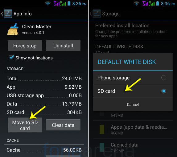 Phone hang: Image showing how to set default write disk and how to move app to SD card.