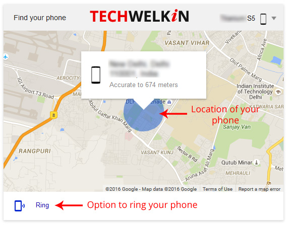 "You can track your phone by typing ""where is my phone"" in Google search."