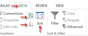 Sort options in Data tab of Excel.