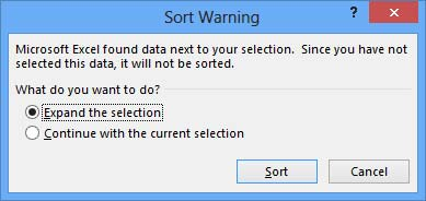 Sort in Excel. Warning suggesting to expand data selection.
