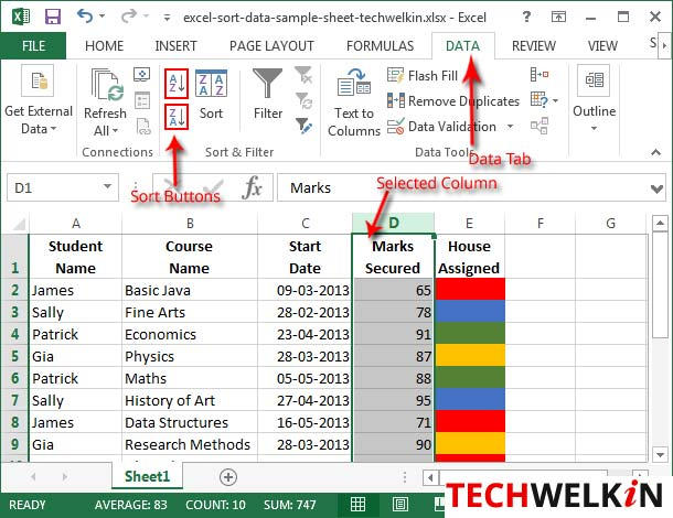 Sort in Excel. Quick sort buttons.