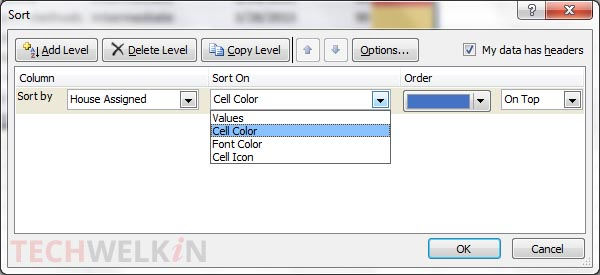 Sort by cell color option in Sort dialog box.