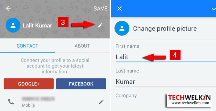 Edit TrueCaller profile to change wrong name in database.