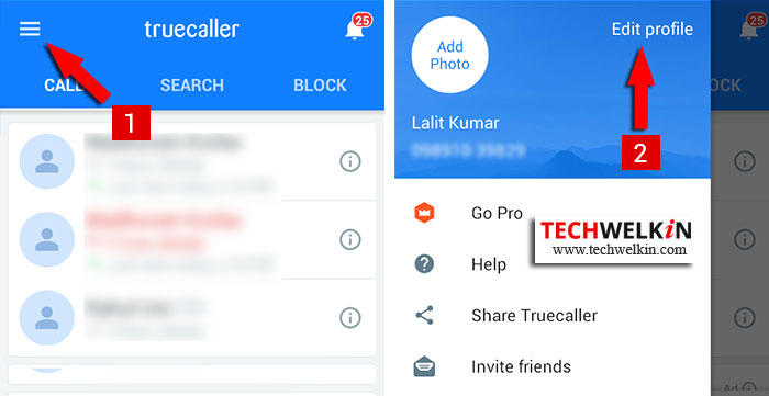 Edit TrueCaller profile to change wrong name.