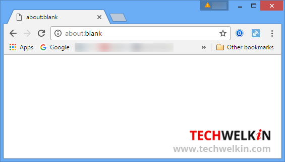 About Blank page in Google Chrome.