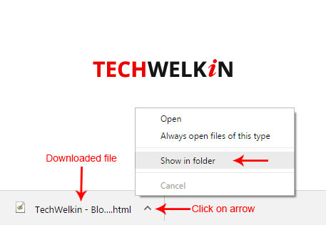 locate downloaded file in Google chorme