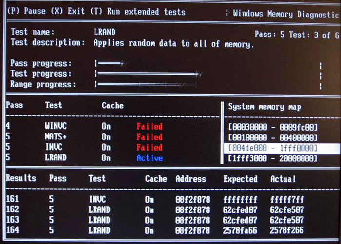 Failures shown by Windows memory diagnostic during RAM test.