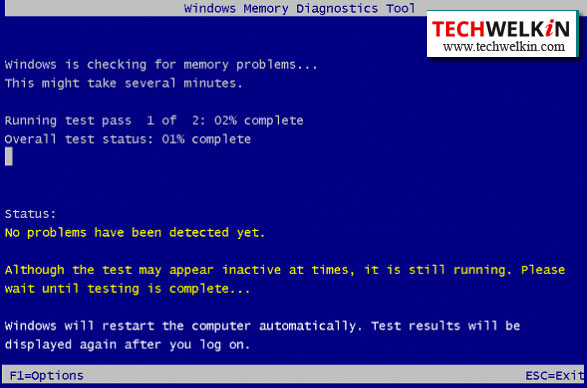 RAM Test by Windows Memory Diagnostic