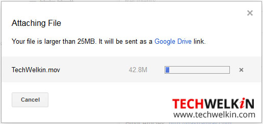 Files bigger than maximum gmail attachment size are uploaded in Google Drive.