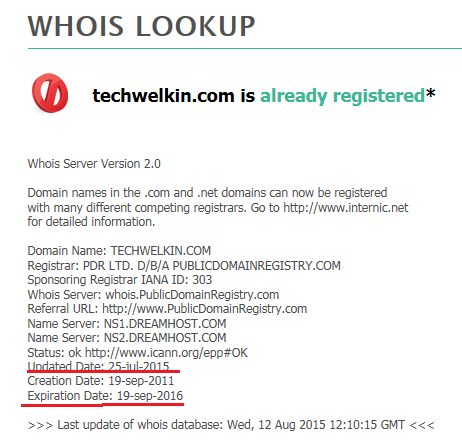 whois.net result to identify domain name owner