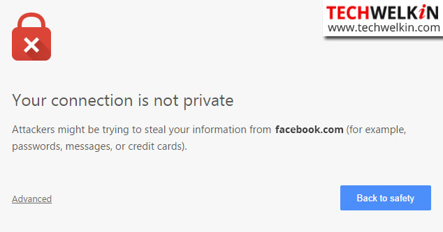 your connection is not private ssl error in Google Chrome