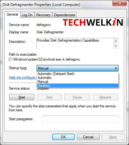 disable service in windows