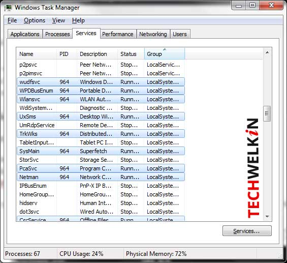 highlighted services list for an svchost.exe instance in task manager