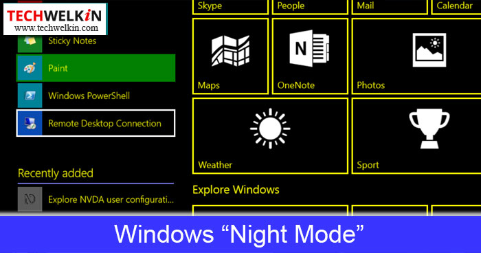 windows night mode is activated by using high contrast theme
