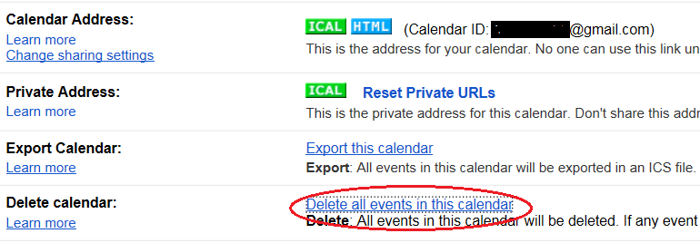 Clear Delete All Events from Google Calendar