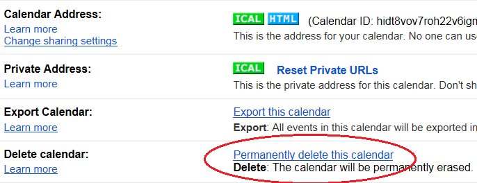 delete secondary Google calendar