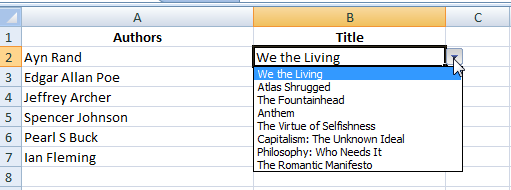 drop down list excel showing books