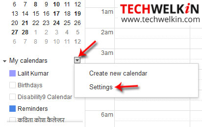 Google My Calendar Settings