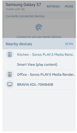 image showing list of devices detected by quick connect