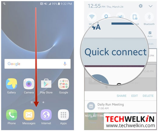 Using Samsung qucik connect feature