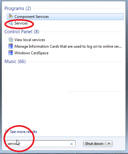 searching services in windows