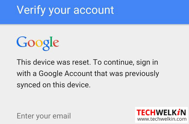 Solution] Device was reset  Sign in with Google Account that was