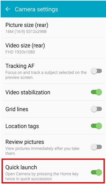 camera quick launch in samsung galaxy mobile phones