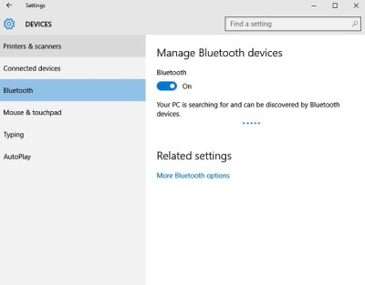 enable bluetooth in Windows 10 computer