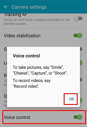 enable camera voice control in samsung mobile phones